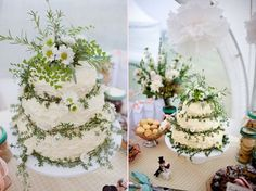 Beautiful wedding cake! Personally, I think it needs more color and a bit less green but what a neat idea! There are daisies on top along with rosemary and maiden hair fern.