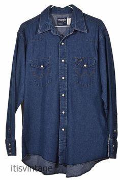 e57034edcb Vintage Wrangler Pearl Snap Indigo Denim Western 100% Cotton Shirt Large  16-33