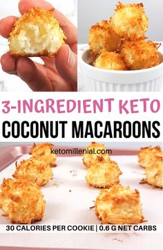 Easy keto coconut macaroons made with egg whites, coconut and sugar free sweetener. These 3 ingredient coconut macaroons are the perfect quick keto treat that bakes in under 20 minutes! This is the best recipe for keto coconut macaroons! Keto Cookies, Coconut Cookies, Cookies Et Biscuits, Chip Cookies, Sugar Free Biscuits, Keto Biscuits, Keto Pancakes, Sugar Cookies, Low Carb Desserts