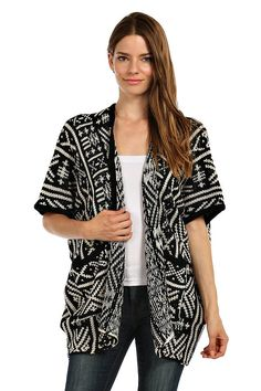 AZTEC SHORT SLEEVE CARDIGAN