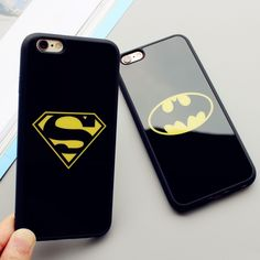 Lover Cell Phone Case For Iphone 6 6S Plus 5 5S SE Superman Batman Case Soft Silicone Frame Mirror Phone Back Cover