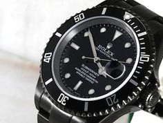 Image detail for -rolex submariner all black Rolex Watches For Men, Cool Watches, Black Watches, Rolex Watch Price, Black Rolex, Thing 1, Citizen Watch, Citizen Eco, Watch Model