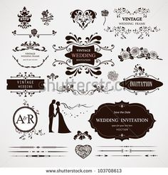 Vector design elements and calligraphic page decorations for wedding