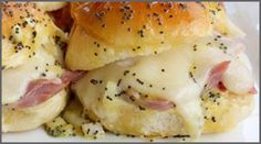 Hot ham and cheese sliders Village Hearth Classic Dinner Rolls 12 slices baked ham 6 slices Swiss cheese, cut in quarters 1/2 cup mayonnaise 2 tablespoons horseradish sauce or mustard (optional) Poppy seed sauce: 1 tablespoon poppy seeds