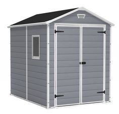 Buy Keter Manor Large 6 x 8 ft. Resin Outdoor Backyard Garden Storage Shed at Discounted Prices ✓ FREE DELIVERY possible on eligible purchases. Keter Plastic Shed… Plastic Storage Sheds, Storage Shed Kits, Plastic Sheds, Garden Storage Shed, Outdoor Storage Sheds, Diy Shed, Outdoor Sheds, Porch Storage, Backyard Sheds