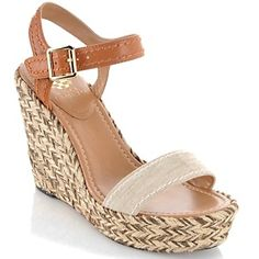 """Vince Camuto """"Ebba"""" Leather and Canvas Wedge at HSN.com."""
