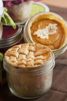 Pie in a Jar - they are individually-sized and perfectly proportioned. Besides they would be pretty sweet on the Thanksgiving buffet and be easily taken home by guest!