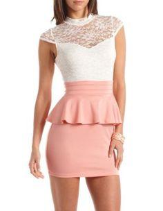 Lace Top Ponte Peplum Dress