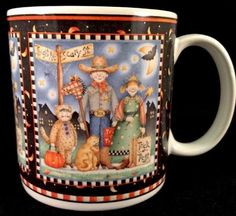 A very nice Halloween collectible coffee mug by Debbie Mumm named Spooky Town. Has a Trick A Treat scene with a cat, moon, bat, pumpkins, etc. Made in Indonesia and marked on underside and dated 2002. | eBay!