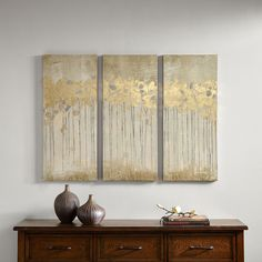 Sandy Forest is a triptych set will add style and sophistication to your living room. The set incorporates a beautiful sandy hues with hand applied gold foiling for added dimension.
