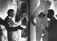 Kenneth Anger and Sexologist Dr. Alfred Kinsey inside the Abbey Of Thelema (1955).