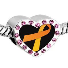 Pugster Pink Swarovski Crystal Orange Ribbon Awareness Photo Heart Silver Plated Beads Fits Pandora Charm Chamilia Biagi Bracelet Pugster. $16.49. Weight (gram): 2.8. Color: Pink. Metal: Crystal. Size (mm): 12.95*7.4*10.31