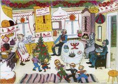 """Adventkalendern, """"Gumman som blev liten som en tesked"""" Sveriges Television, 1967 tecknad av Björn Berg"""