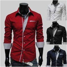 #Men summer fashion. Colored Cuff Button-Up Shirt