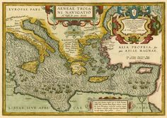 An antique map of Aeneas' travels. This is how he got from Troy to Italy