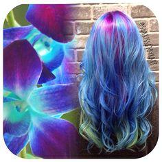 Blue Orchid color melt with inspirational photo by Kate Whitney. Kate your hair color design is spot on! Mermaid hair Rainbow Hair Hair Painting fb.com/hotbeautymagazine