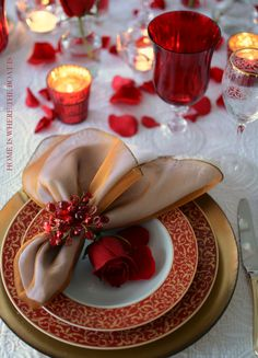 K--Valentine's Day Table with Mikasa Parchment Rouge | Home is Where the Boat Is