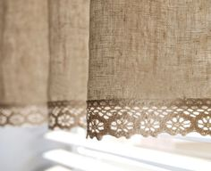Natural Linen Cotton Blend Cafe Curtain Valance with Cotton Lace Trim. One Panel up to Custom Size Available. Made to order Natural Linen [. No Sew Curtains, Burlap Curtains, Rod Pocket Curtains, Cafe Curtains, Kitchen Curtains, Valance Curtains, Drapery, Luxury Curtains, Short Curtains