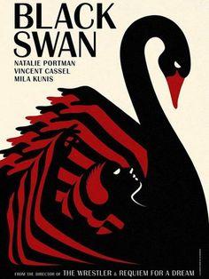 """La Boca, affiche du film Black Swan avec Natalie Portman, 2011 - Primée """"Best Poster"""" aux Annual Design Awards 2010. Une des 4 affiches réalisées par La Boca pour le film."""