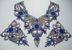 VK324 Vintage Style Collar Epaulette Venise Applique Set [VK324] - $10.50 : Angeltrim supply sequin bead applique, venice applique, chinese frog button, trim lace, hotfix rhinestone,garment accessories