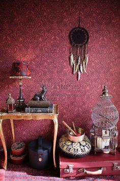 "Interior view 3 of the wallpaper collection ""boho love"", a. Interior Wallpaper, Damask Wallpaper, Wallpaper Online, Love Wallpaper, Beautiful Wallpaper, Ornament Tapete, Arabesque, Estilo Hippy, Tumblr Rooms"