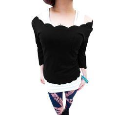 Allegra K Women Scalloped Neckline Long Sleeve Solid Color Front Pocket Short Top Shirt Black XS Allegra K. $8.32
