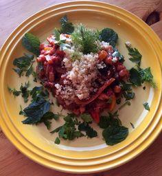 Marokkansk vegetargryte med aubergine, kikerter og mynte