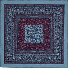 Chasse en Inde | Ref. : H241747S 41 bruyères bleu/violet/denim bleu | Shawl in 70% cashmere and 30% silk (140 x 140 cm)