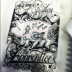 A custom script drawing Remee Bailey our custom tattoo artist specialising in script and unique tattoos