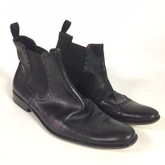 d0c0647d158b Kenneth Cole New York Mens 8 Black Ankle Boots Bootie Leather Dress Elastic   KennethCole