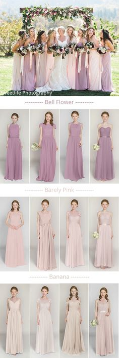 mismatched lavender and pink bridesmaid dresses