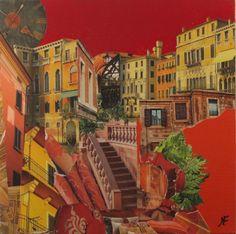 """""""Renaissance"""" by Marie Felba : Acrylique et collage sur toile de lin de 50x50cm ."""