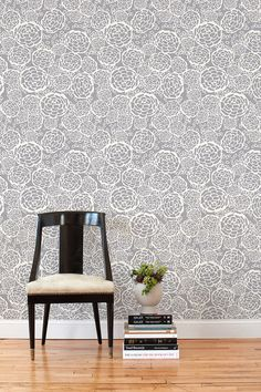 This peel and stick wallpaper pattern!!! Hygge & West | Petal Pusher (Gray) Tile