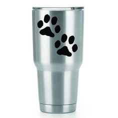 Dog Paws   3 Inch Vinyl YETI Decal   Sticker   White Black Red Blue Pink And Hot Pink by CastlePeakGraphics on Etsy