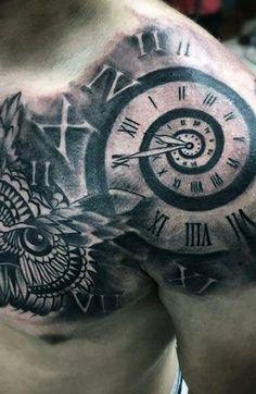 Chest Tattoo Clock, Clock Tattoo Sleeve, Best Sleeve Tattoos, Mens Tattoos, Tattoo Chest And Shoulder, Tribal Shoulder Tattoos, Shoulder Tattoos For Men, Tribal Tattoos, Religious Tattoos For Men