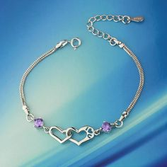 Lovely Heart-Shaped 925 Pure Silver Diamond Bracelets – BagBp.com