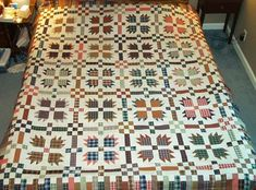 Bear paw quilt, country and scrappy.