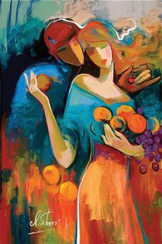 """Irene Sheri Handsigned and Numbered Limited Edition Embellished Giclee on Canvas: """"Sweet Harvest"""" Artist: Irene Sheri Title: Sweet Harvest Image Size: x Edition: Artist Hand Signed and Numbered Limited Edition to 95 Medium: Fine A Couple Painting, Figure Painting, Painting & Drawing, Abstract Art Paintings, Figurative Kunst, Arte Pop, Fine Art, Painting Inspiration, Female Art"""