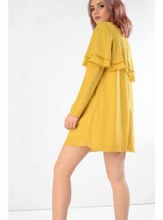 Acid Yellow Ruffle Detail Mini Dress