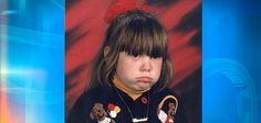 Danielle T. from Lansing, Michigan sent in her Picture Day photo from kindergarten. She wasn't too happy about her sweater, and her mother wasn't too happy about having to pay for this photo. Bad School Pictures, School Photos, School Portraits, Family Portraits, Family Photos, Awkward Pictures, Funny Pictures, School Days, Back To School