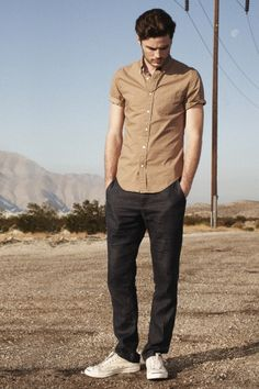 I love all the color patterns of club monaco!   Beautiful bronze shirt and nice jean trousers
