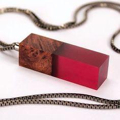 Reclaimed redwood burl and garnet ecoresin pendant with gunmetal box chain.