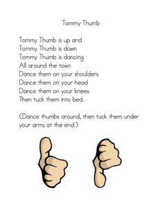 """Fingerplay, """"Tommy Thumb"""" (free; from Kindergarten Nana)"""