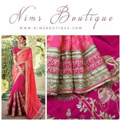 Maharani Silk Pink & Dark Pink Royal Brocade Sari and Elephant embroidery with Dark Pink Embroidered unstitched blouse