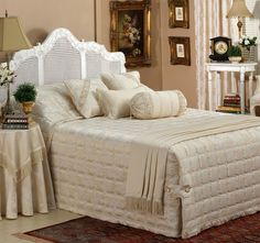 cotton and polyester sateen outerPolyester fillPolyester and cotton reverseJacquardFully quiltedTailored cornersCord trimHand or gentle machine wash using wool detergentDo not bleach or dry clean Drip Dry, Nottingham, Bed Spreads, Comforters, Beige, Elegant, Luxury, Bleach, Blankets