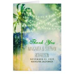 Yellow Wedding Thank You Cards beach wedding thank you card with lights & palms