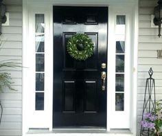 Exterior Paint Colours For House Gray White Trim Black Doors Ideas Black Front Doors, Painted Front Doors, Front Door Colors, Black Windows, Black Exterior Doors, Front Door Side Windows, Gray Exterior, Painted Exterior Doors, Exterior Siding