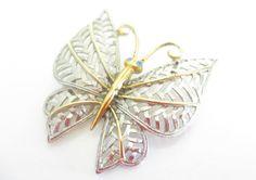 Vintage Avon Brand Butterfly Brooch, Two tone silver and gold butterfly, Butterfly pin