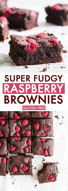 Super Fudgy Raspberry Brownies (Gluten Free) - What do you get if you pair the gooey, chocolatey deliciousness of brownies with fresh, slightly tart raspberries? The answer: these AMAZING super fudgy Chocolate Raspberry Brownies, Raspberry Desserts, Easy Chocolate Desserts, Chocolate Recipes, Easy Desserts, Dessert Recipes, Raspberry Recipes Gluten Free, Healthier Desserts, Paleo Dessert