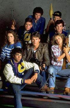 Pre-Dirty Dancing, Patrick Swayze, Jennifer Grey, Lea Thompson,Charlie Sheen,Brad Savage. Red Dawn 1984 film.
